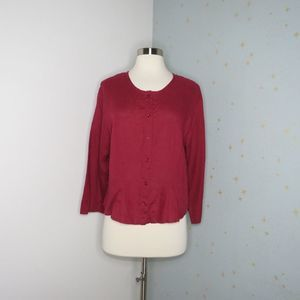 Flax | Red Linen Button Up Top